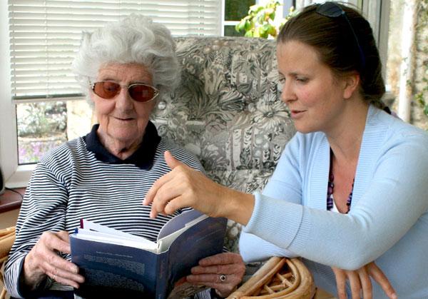 'Susan showing 'The Rainbow Bridge' to her prep school Head Mistress, Mrs Joan Amphlett, Glos, UK'