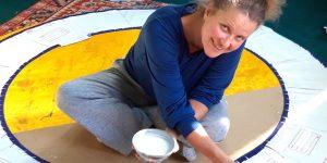 Susan working on the border of 'Womb of Life', Shanti Bhawan, Kullu-Manali Valley, India