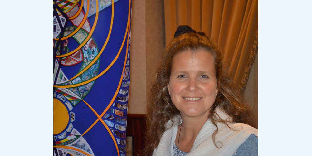 Susan and her 'Crystal of Time' picture at Dr Karim's Biogeometry Conference, Victoria, BC, Canada