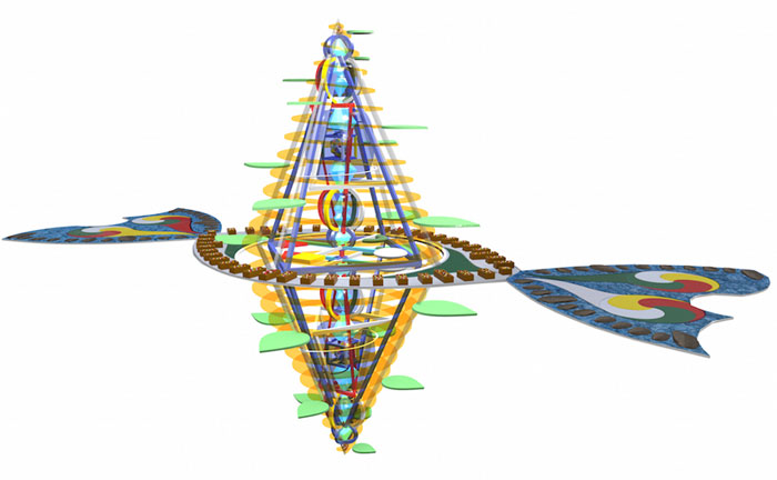 Computer generated impression of 'The Magician's Jewel' structure with envisaged floor plan